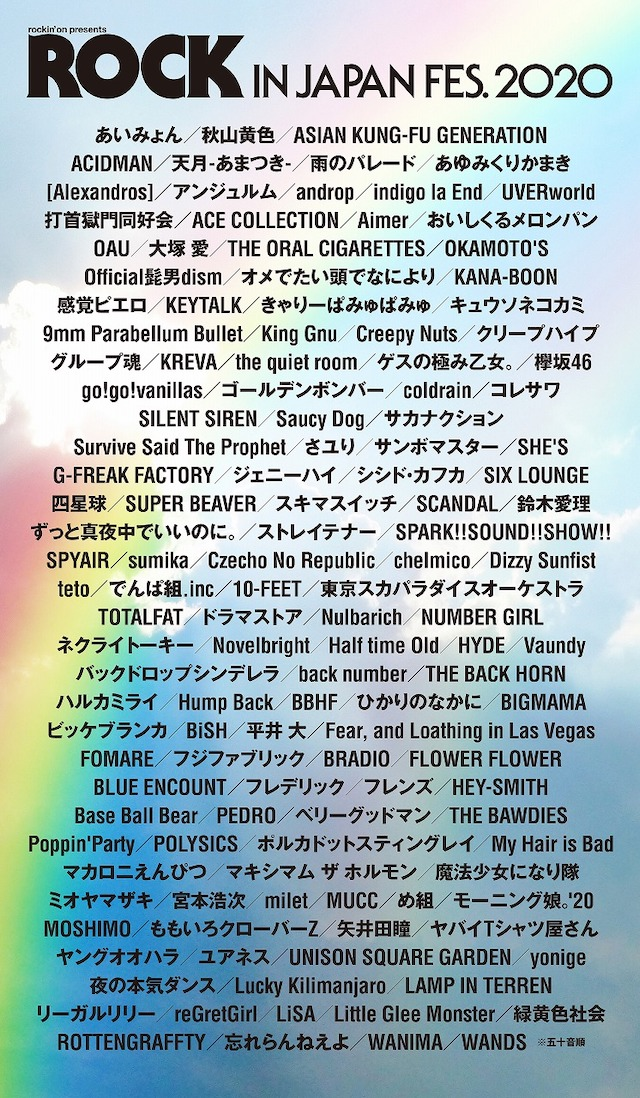 『ROCK IN JAPAN FESTIVAL 2020』、出演予定だったアーティスト発表の画像1-1